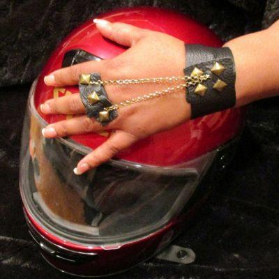 Black Leather Studded Bracelet Ring