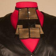 Black & Gold Leathr Sequins Necklace
