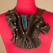 Chocolate Red Zipper Neck Wear with Turquoise Leather Silvertone Accents