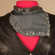 Gray-Leather-Silver-Tone-Asymmetric-Neck-Wrap