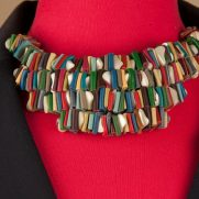 Rainbow Leather Choker with Elongated Pearlie Beading
