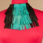 Turquoise & Black Leather Shingle Necklace