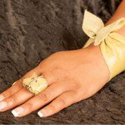 Apple Green Leather Ring & Bracelet