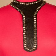 Black Leather Tie with Stud Trim